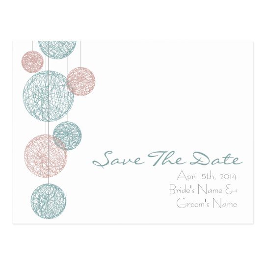 Peach & Blue Twine Globes Wedding Save The Date Postcard