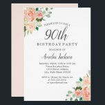 "Peach Blush Watercolor Floral 90th Birthday Party Invitation<br><div class=""desc"">More pretty Floral Birthday Invitations in the Little Bayleigh Store!</div>"