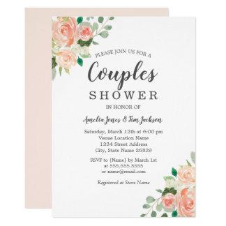 Peach Blush Watercolor Floral Couples Shower Invitation