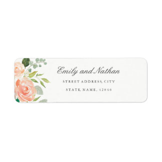 Peach Blush Watercolor Floral Return Address Label