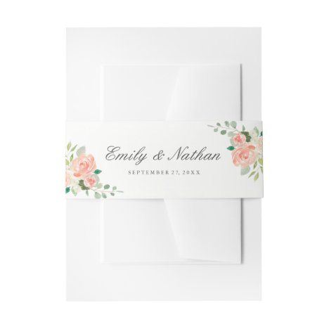 Peach Blush Watercolor Floral Wedding Belly Band