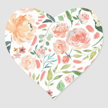 Valentines Themed Peach Blush Watercolor Floral Wedding Heart Seal