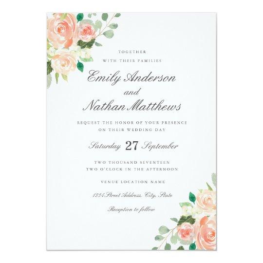 peach blush watercolor floral wedding invitation zazzle com
