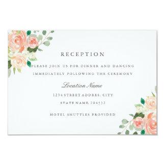 Peach Blush Watercolor Floral Wedding Reception Card