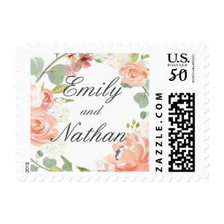 Peach Blush Watercolor Floral Wedding Stamp