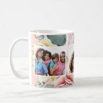 Peach Blush with Floral Three Photo Collage Coffee Mug