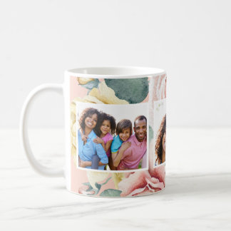Peach Blush with Floral Three Photo Collage Coffee Mug
