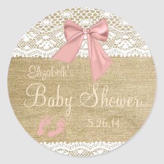 Peach Bow Burlap and Lace Guest Favor Classic Round Sticker
