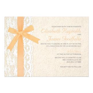 Peach Bow Lace Wedding Invitations Custom Announcements