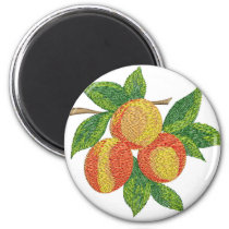 peach branch, imitation of embroidery magnet