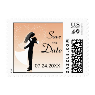 Peach Bride And Groom Silhouette Save The Date Stamps