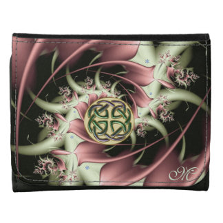 Peach Bronze Fractal and Celtic Knot Leather Wallet