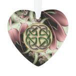 Peach Bronze Fractal and Celtic Knot Ornament