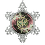 Peach Bronze Fractal and Celtic Knot Snowflake Pewter Christmas Ornament