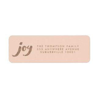Peach & Bronze Glitter Joy Xmas Return Address Label