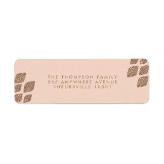 Peach & Bronze Glitter Return Address Labels
