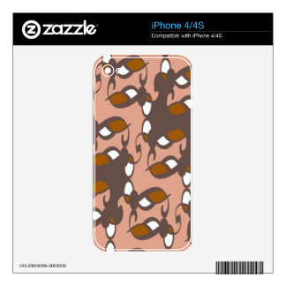 Peach Brown Art Deco Decal For The iPhone 4