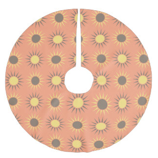 Peach Brown Yellow Sunburst Sun Silhouette Pattern Brushed Polyester Tree Skirt