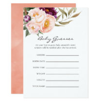 Peach & Burgundy Floral Baby Shower Guessing Game Invitation