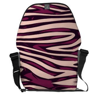 Peach Burgundy Zebra Abstract Messenger Bag