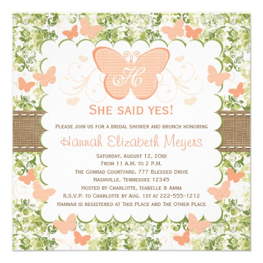 Peach Burlap Butterfly Bridal Shower Invitations