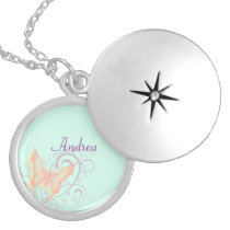 Peach Butterfly and Purple Swirls Name Template Locket Necklace