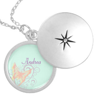 Peach Butterfly and Purple Swirls Name Template Round Locket Necklace