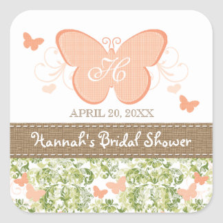 PEACH BUTTERFLY BRIDAL WEDDING SHOWER FAVOR LABELS SQUARE STICKER