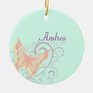 Peach Butterfly Ceramic Ornament