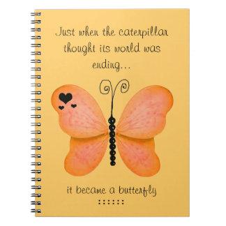Peach Butterfly Notebook
