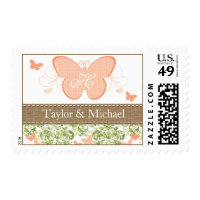 PEACH BUTTERFLY WEDDING SHOWER POSTAGE STAMPS