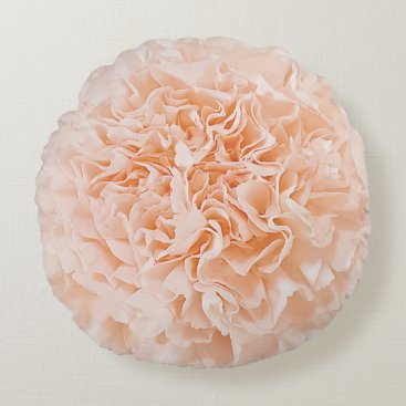 Beach Themed Peach Carnation Flower Round Pillow