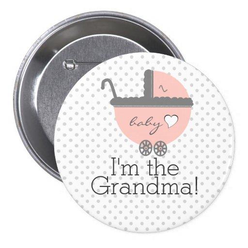 Peach Carriage-Baby Shower Grandma Pinback Button
