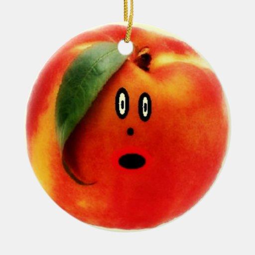 Peach Cartoon Face Double-Sided Ceramic Round Christmas Ornament