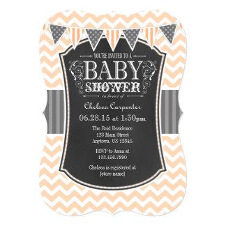 Peach Chalkboard Chevron Baby Shower Invite