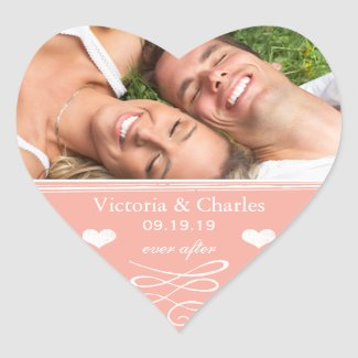 Peach Chalkboard Wedding Save the Date Seal