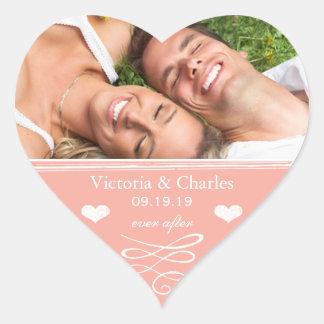 Peach Chalkboard Wedding Save the Date Seal Heart Sticker