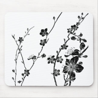 Peach Cherry Blossom Flowers Background Pattern Mouse Pad