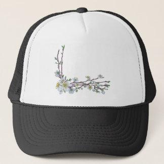 Peach Cherry Blossom Flowers Corner Design Trucker Hat