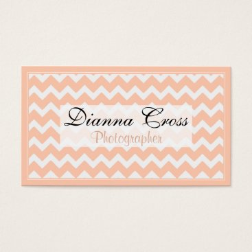 Professional Business Peach Chevron Border Business Cards
