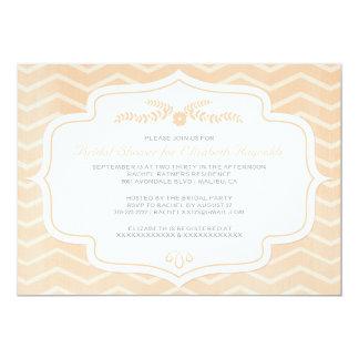 """Peach Chevron Bridal Shower Invitations 5"""" X 7"""" Invitation Card"""