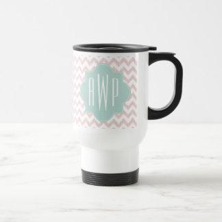 Peach Chevron Ikat Monogrammed Travel Mug