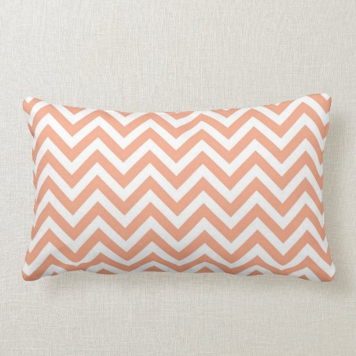 Peach Chevron Lumbar Pillow