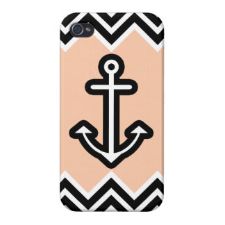 Peach Chevron Nautical Cover For iPhone 4