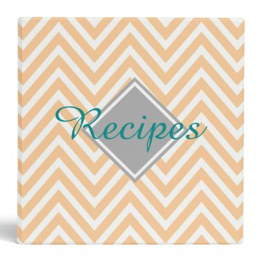Beach Themed Peach Chevron Pattern and Teal Recipes monogram Binder