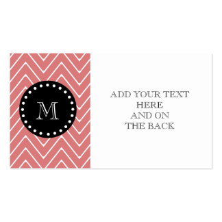 Peach Chevron Pattern | Black Monogram Double-Sided Standard Business Cards (Pack Of 100)