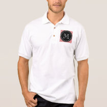 Peach Chevron Pattern | Black Monogram Polo Shirt