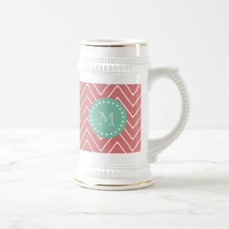 Peach Chevron Pattern | Mint Green Monogram Beer Stein