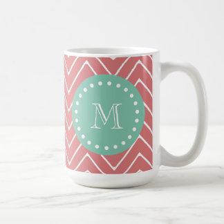 Peach Chevron Pattern | Mint Green Monogram Coffee Mug
