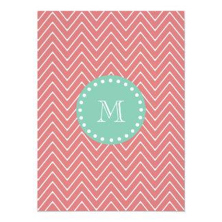 Peach Chevron Pattern | Mint Green Monogram 5.5x7.5 Paper Invitation Card